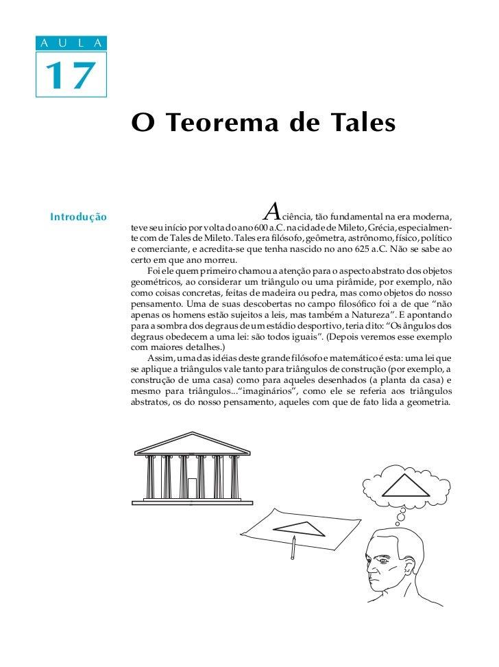 A UA U L A     L A    1717              O Teorema de Tales Introdução                                     A      ciência, ...