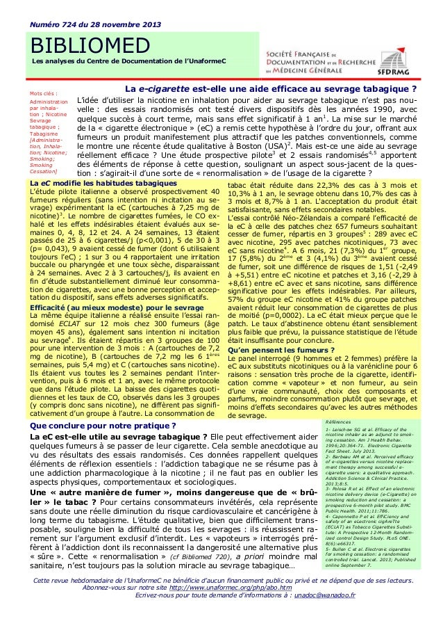 Numéro 724 du 28 novembre 2013  BIBLIOMED Les analyses du Centre de Documentation de l'UnaformeC  Mots clés : Administrati...