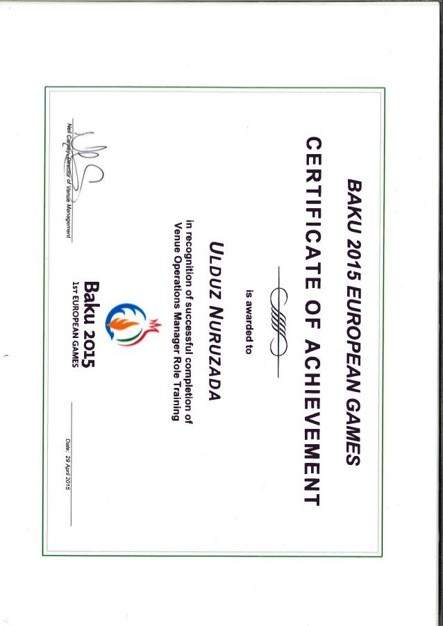 Operations Management Training Certificate