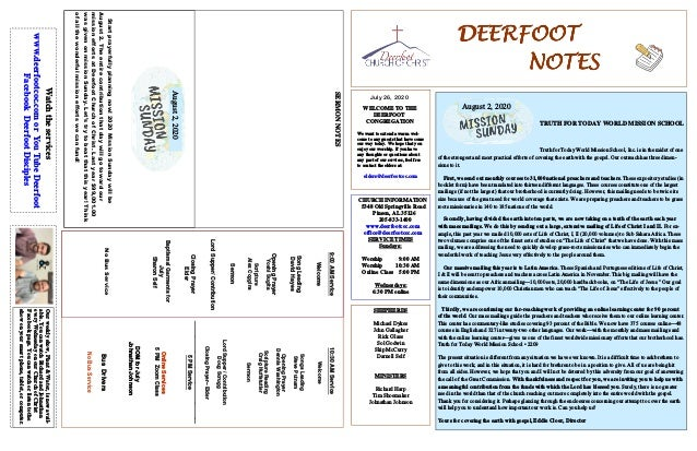 DEERFOOTDEERFOOTDEERFOOTDEERFOOT NOTESNOTESNOTESNOTES July 26, 2020 WELCOME TO THE DEERFOOT CONGREGATION We want to extend...
