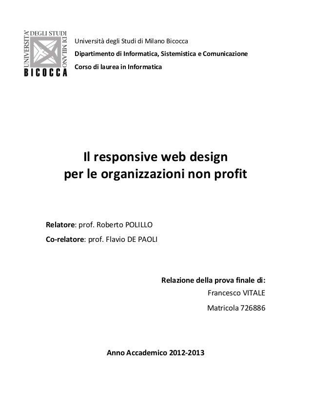 Il responsive web design per le organizzazioni non profit for Laurea design milano