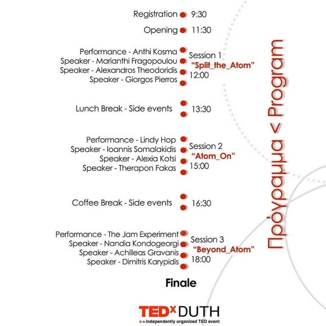 Πρόγραμμα ημερίδας TEDxDUTH