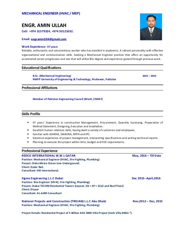 Engr Amin Ullah Cv Mechanical Engg