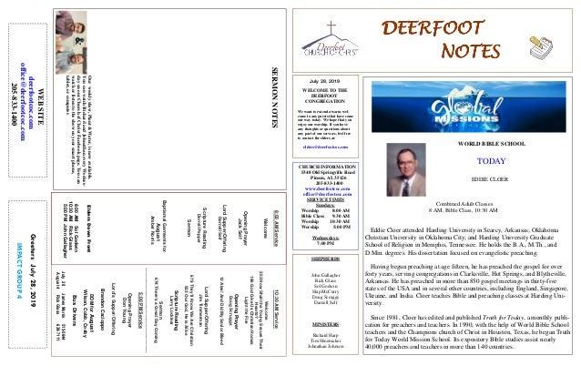 DEERFOOTDEERFOOTDEERFOOTDEERFOOT NOTESNOTESNOTESNOTES July 28, 2019 GreetersJuly28,2019 IMPACTGROUP4 WELCOME TO THE DEERFO...