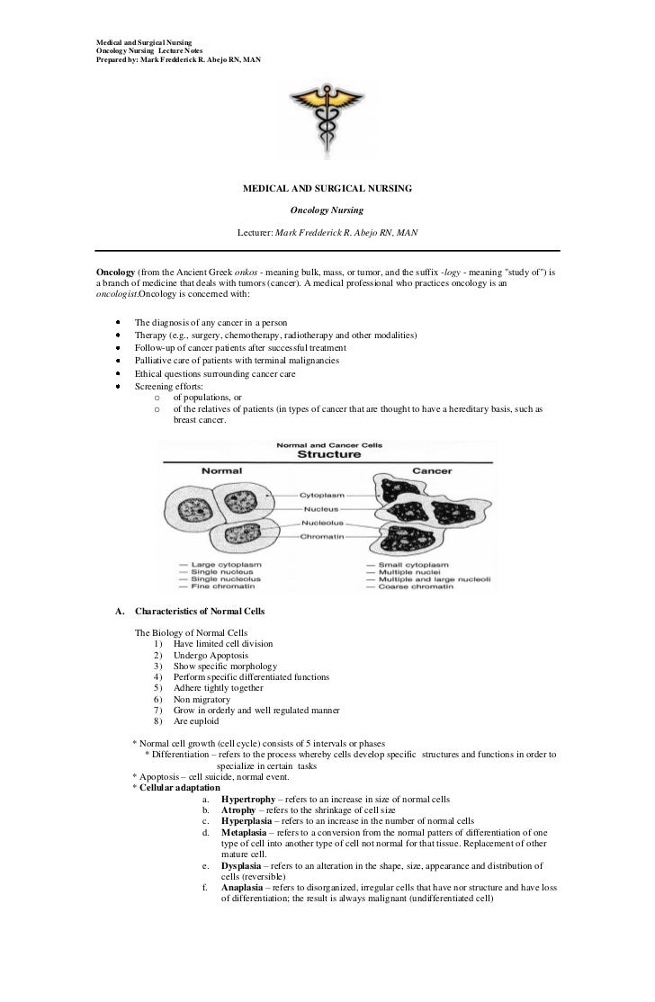 Medical and Surgical NursingOncology Nursing Lecture NotesPrepared by: Mark Fredderick R. Abejo RN, MAN                   ...