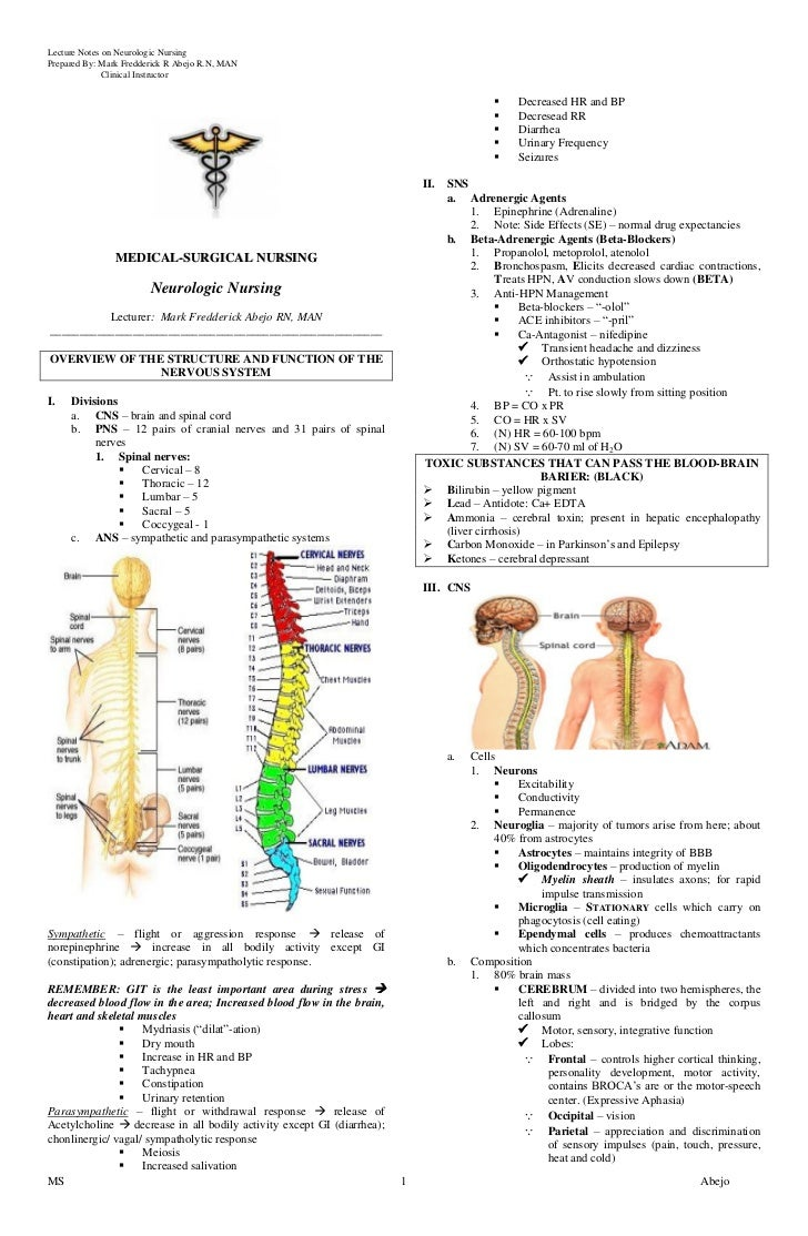 Lecture Notes on Neurologic NursingPrepared By: Mark Fredderick R Abejo R.N, MAN              Clinical Instructor         ...