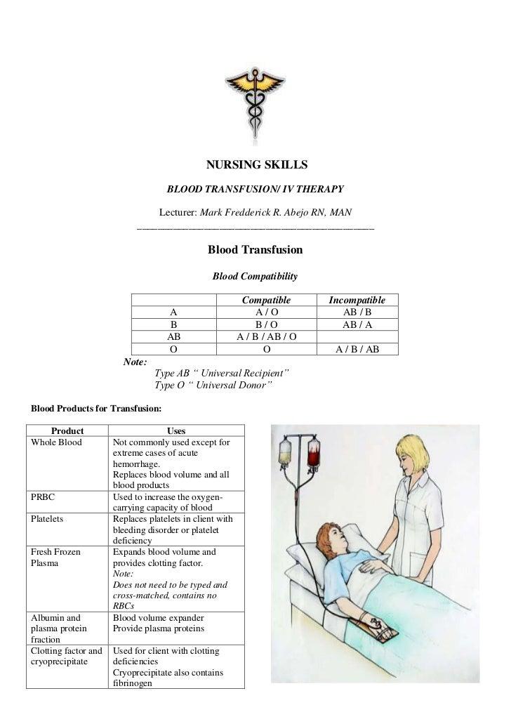 NURSING SKILLS                                    BLOOD TRANSFUSION/ IV THERAPY                                Lecturer: M...