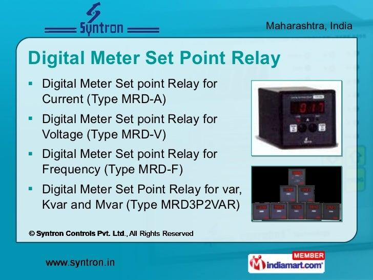 Digital Meter Set Point Relay <ul><li>Digital Meter Set point Relay for Current (Type MRD-A) </li></ul><ul><li>Digital Met...