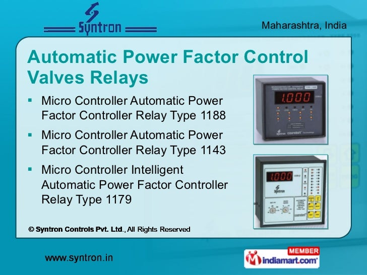 Automatic Power Factor Control Valves Relays <ul><li>Micro Controller Automatic Power  Factor Controller Relay Type 1188 <...