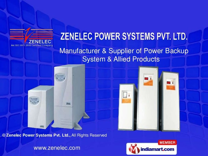 Manufacturer & Supplier of Power Backup                                   System & Allied Products© Zenelec Power Systems ...