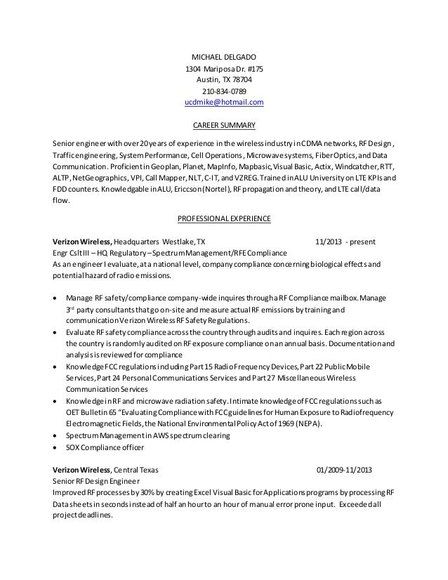 resume rf engineer baseline 02162015