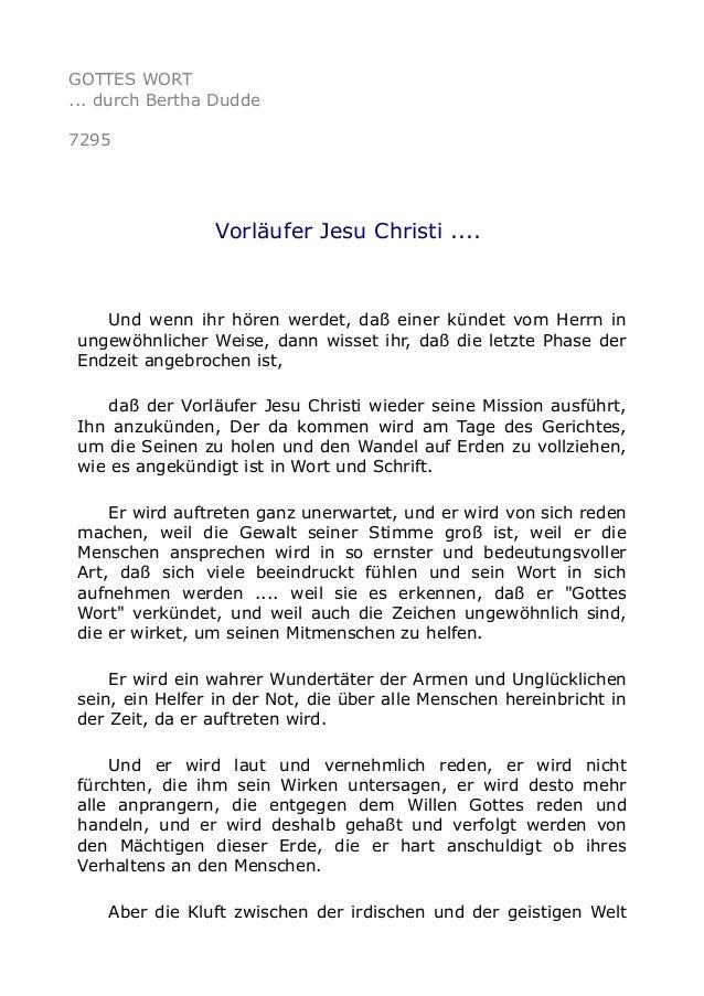 GOTTES WORT  ... durch Bertha Dudde  7295  Vorläufer Jesu Christi ....  Und wenn ihr hören werdet, daß einer kündet vom He...