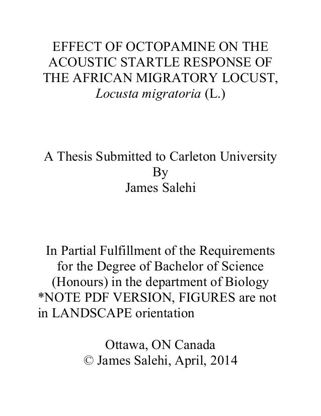 EFFECT OF OCTOPAMINE ON THE ACOUSTIC STARTLE RESPONSE OF THE AFRICAN MIGRATORY LOCUST, Locusta migratoria (L.) A Thesis Su...
