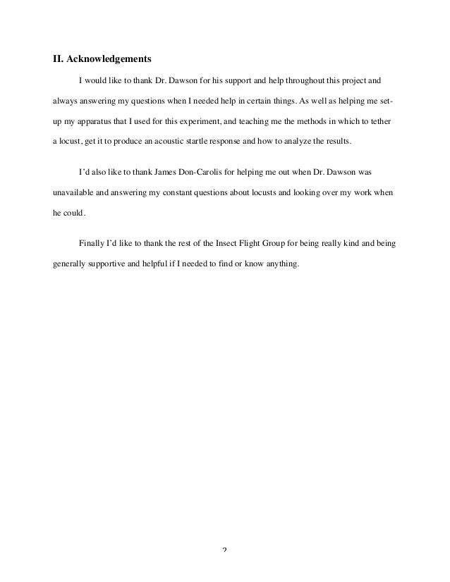 2 II. Acknowledgements I would like to thank Dr. Dawson for his support and help throughout this project and always answe...