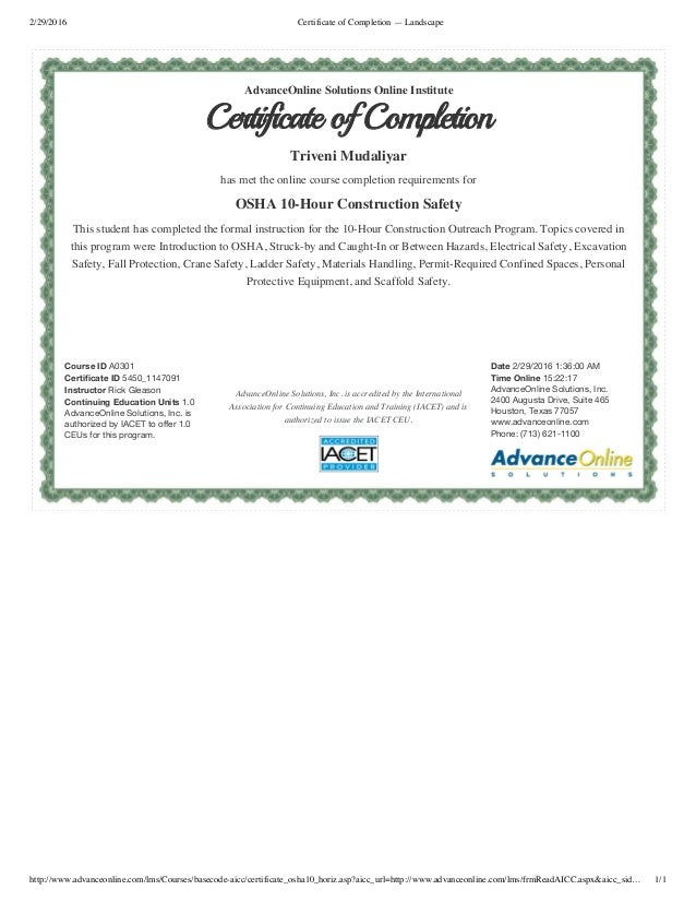 Certificate Of Completion Osha10hr