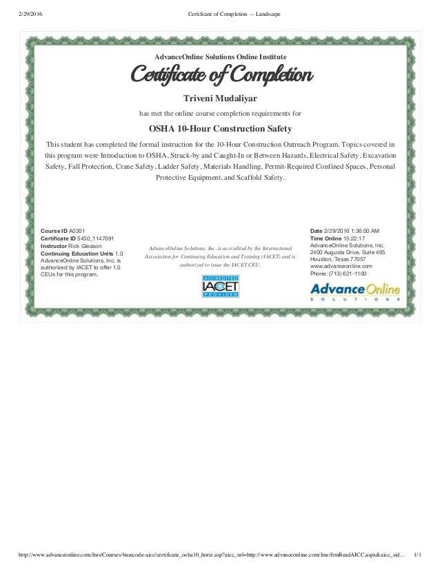 Attractive Osha 10 Certification Online Ideas Online Birth