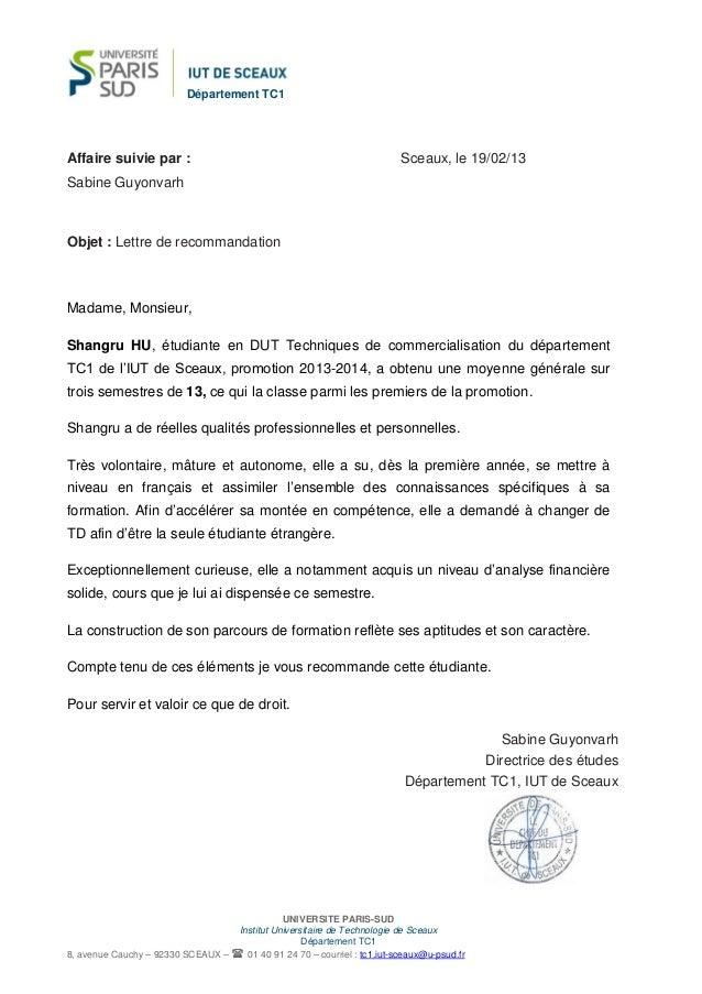 lettre recommandation chef de d u00e9partement shangru hu
