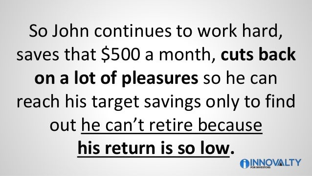 So John continues to work hard, saves that $500 a month, cuts back on a lot of pleasures so he can reach his target saving...