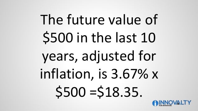 The future value of $500 in the last 10 years, adjusted for inflation, is 3.67% x $500 =$18.35.