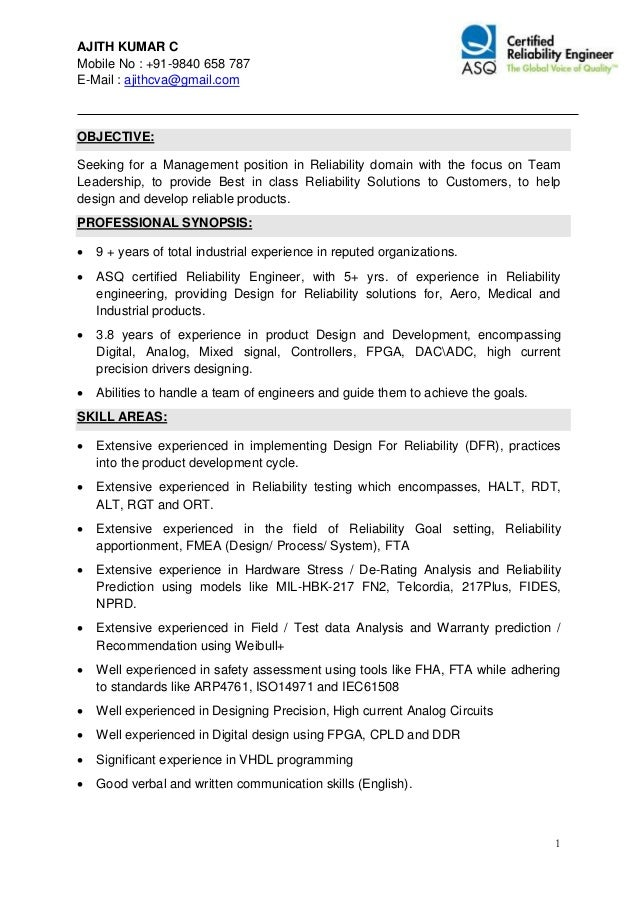 ajith kumar c mobile no 91 9840 658 787 e mail - Certified Reliability Engineer Sample Resume