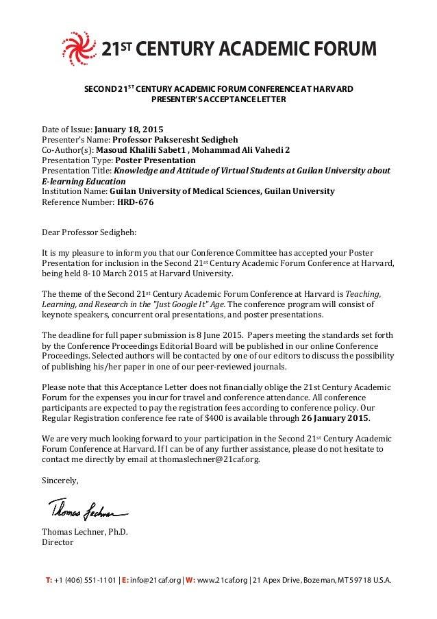 HRD 676 Acceptance Letter. T: +1 (406) 551 1101 | E: Info@21caf  Acceptance Letter
