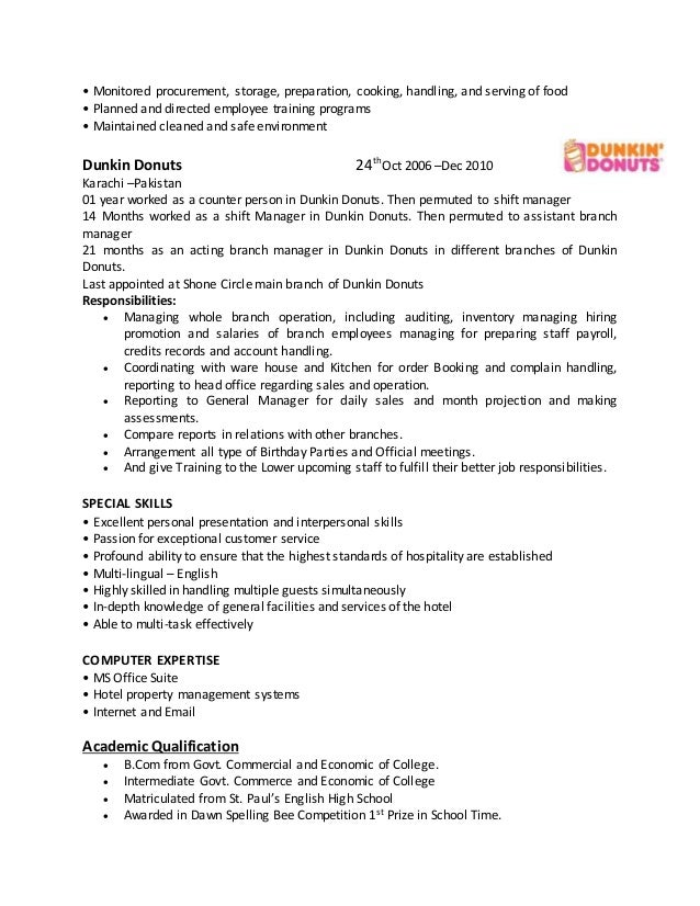 the job responsibilities of a dunkin donuts district manager