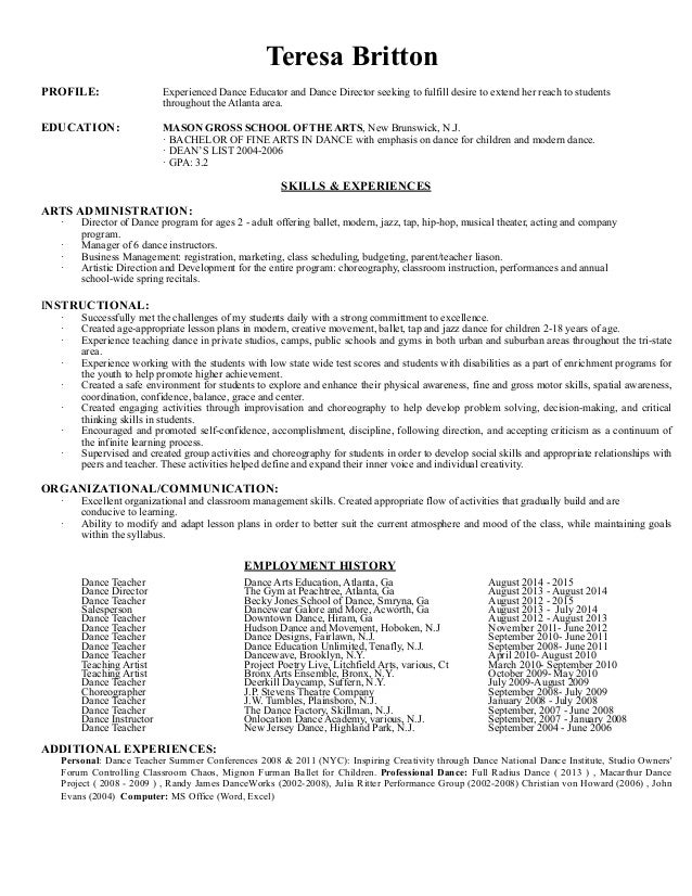 Dance Teacher Resume Short version : no add