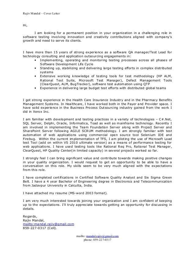 Rajiv Mandal Cover Letter