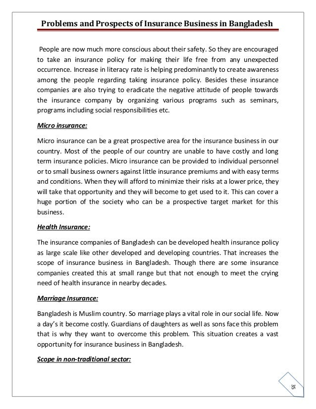 problem and prospect of insurance Problems and prospects of marketing in developing economies: the nigerian experience sunday o e ewah & alex b ekeng department of business administration, cross river university of technology ogoja campus, nigeria tel: 80-5901-4300 e-mail: soniewah@yahoocom abstract the study takes a holistic view.