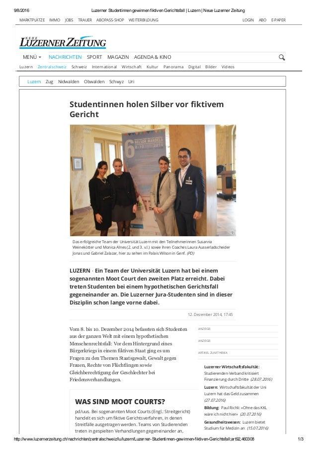 9/8/2016 LuzernerStudentinnengewinnenfiktivenGerichtsfall|Luzern|NeueLuzernerZeitung http://www.luzernerzeitung....