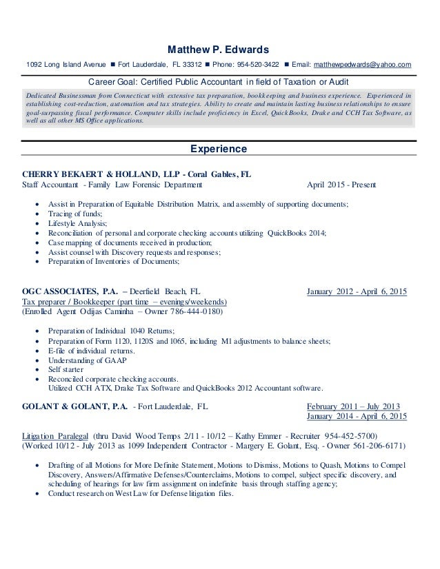 certified public accountant resume