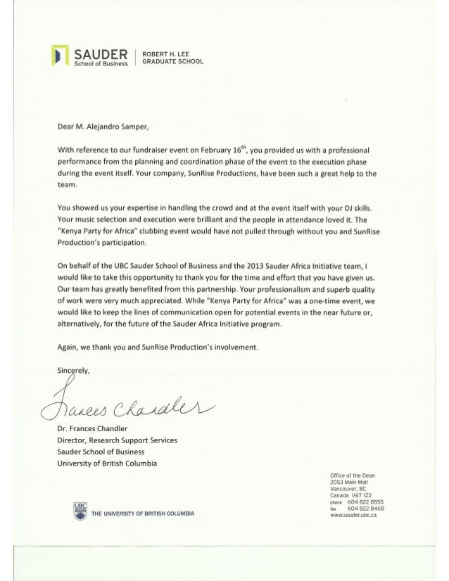 Sauder School Of Business - Thank You Letter