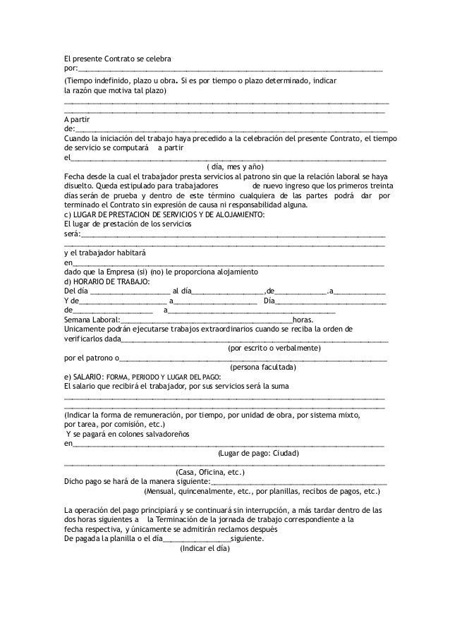 Formato De Contrato Indefinido Formato De Contrato