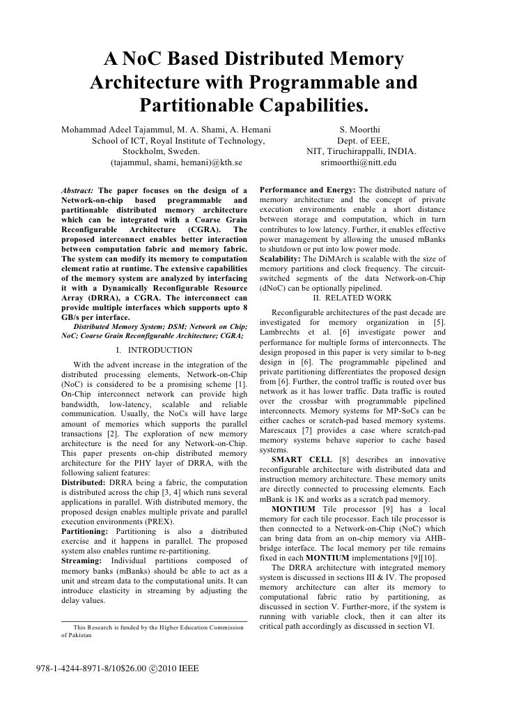 A NoC Based Distributed Memory              Architecture with Programmable and                   Partitionable Capabilitie...