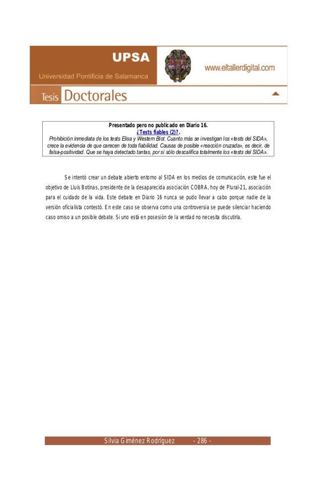 Silvia Giménez Rodríguez - 286 - Presentado pero no publicado en Diario 16. ¿Tests fiables (2)?. Prohibición inmediata de ...