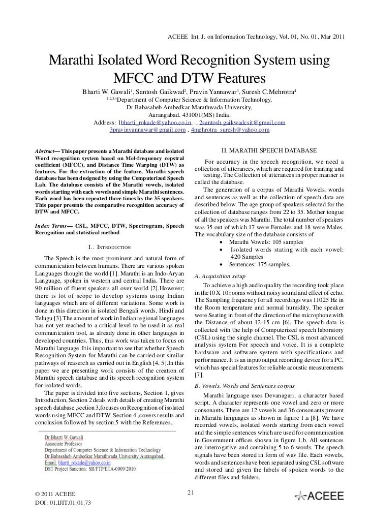 ACEEE Int. J. on Information Technology, Vol. 01, No. 01, Mar 2011     Marathi Isolated Word Recognition System using     ...