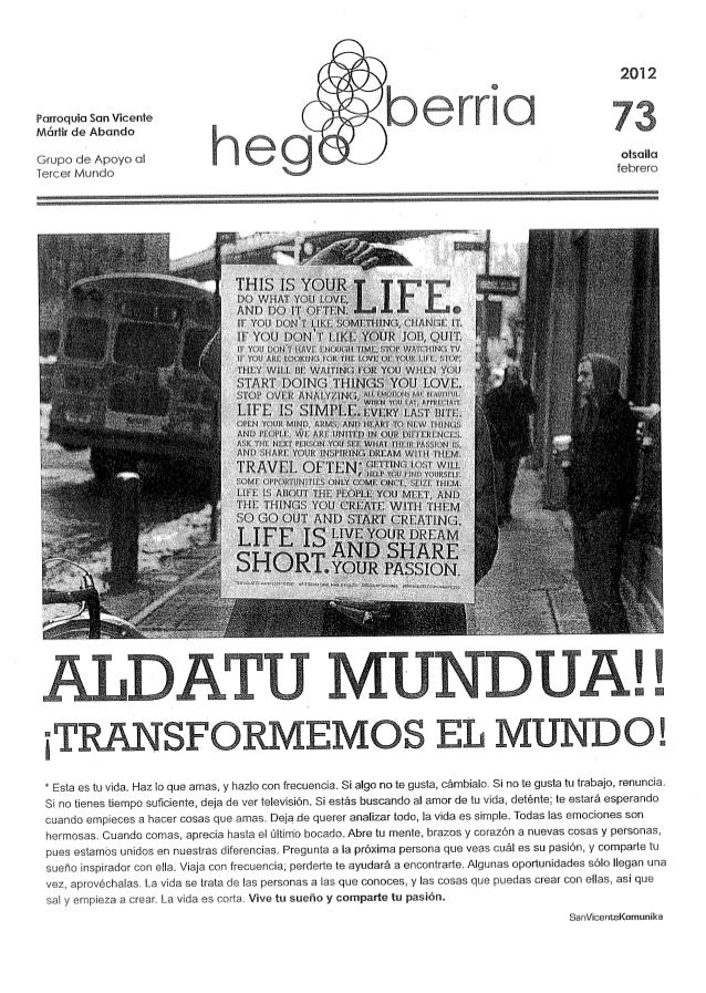 2012  Parroquia San Vicente       Mártir de Abando Grupo de Apoyo cil oisailu Tercer Mundo febrero     ¡T SPORMEMOS EL MUN...