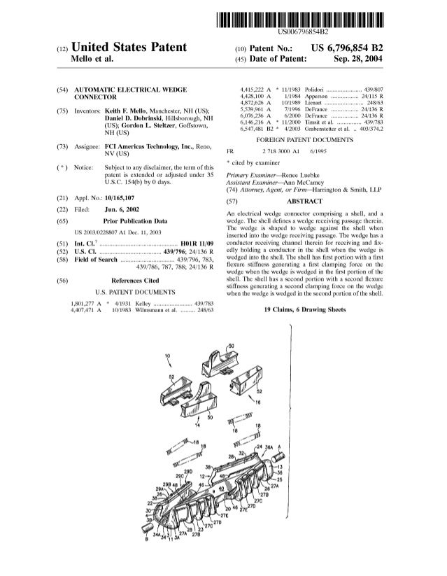 (12) United States Patent Mello et al. (54) AUTOMATIC ELECTRICAL WEDGE CONNECTOR (75) Inventors: Keith F. Mello, Mancheste...