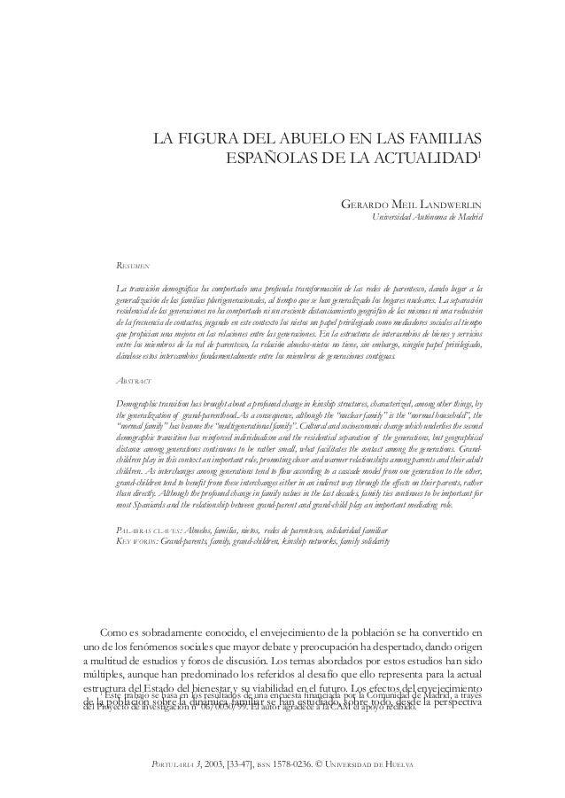 33 GERARDO MEIL LANDWERLIN PORTULARIA 3, 2003, [33-47], ISSN 1578-0236. © UNIVERSIDAD DE HUELVA LA FIGURA DEL ABUELO EN LA...