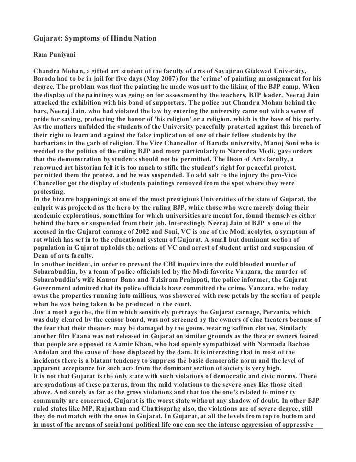 Gujarat: Symptoms of Hindu NationRam PuniyaniChandra Mohan, a gifted art student of the faculty of arts of Sayajirao Giakw...