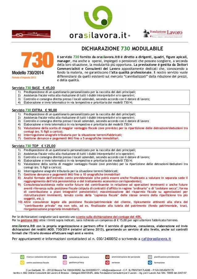 Dichiarazione 730 modulabile gestione consulenza for 730 dichiarazione