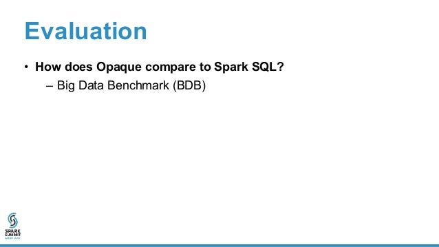 Evaluation • How does Opaque compare to Spark SQL? – Big Data Benchmark (BDB) • Queries 1, 2, 3: filter, aggregation, join...