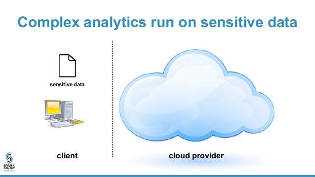 Complex analytics run on sensitive data client cloud provider sensitive data