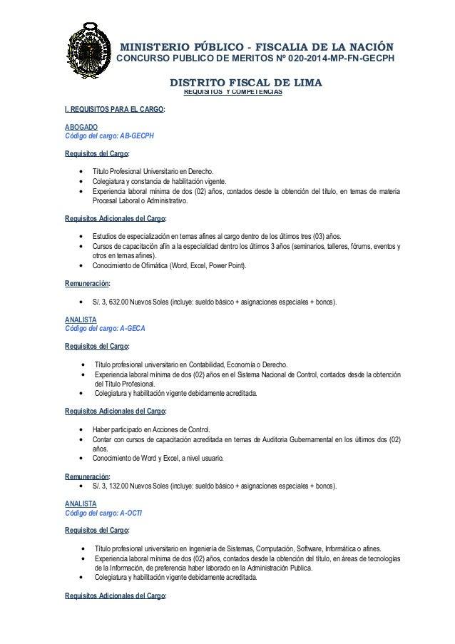 MINISTERIO PÚBLICO - FISCALIA DE LA NACIÓN  CONCURSO PUBLICO DE MERITOS Nº 020-2014-MP-FN-GECPH  REQUISITOS Y COMPETENCIAS...