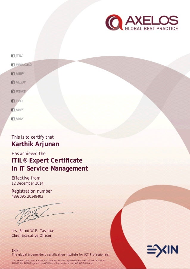 itil expert certificate
