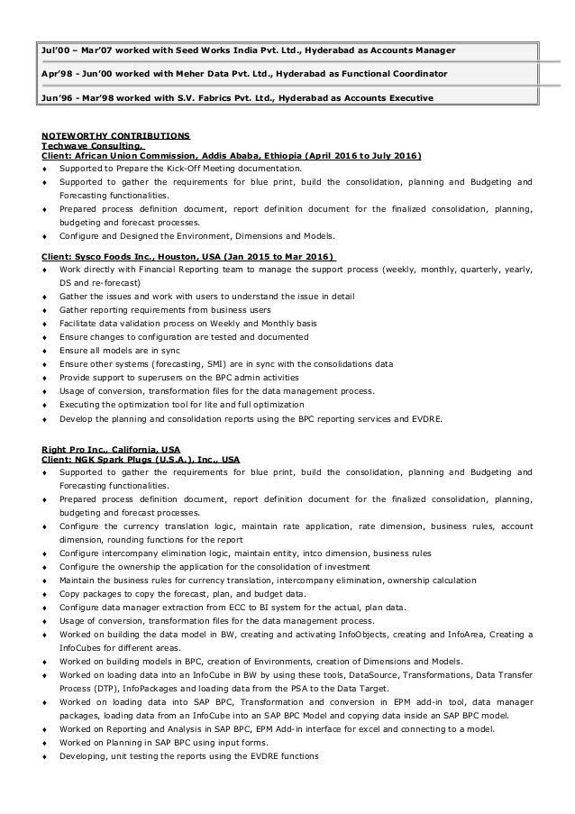 best sap bpc consultant resume gallery simple resume office