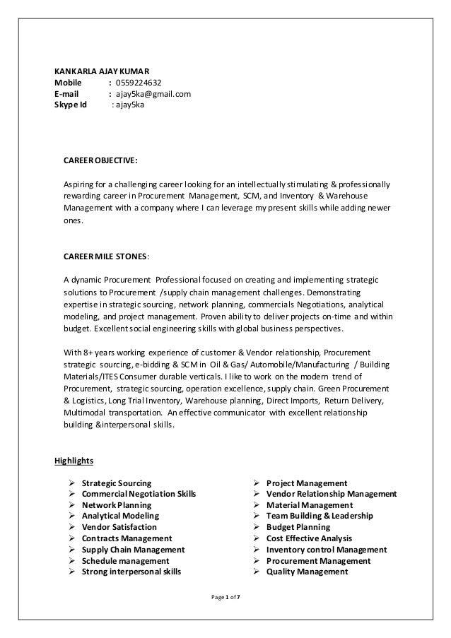 ajy sap mm procurement resume