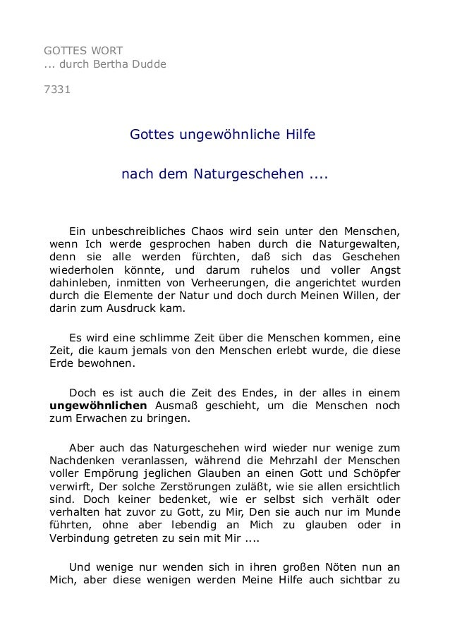 GOTTES WORT  ... durch Bertha Dudde  7331  Gottes ungewöhnliche Hilfe  nach dem Naturgeschehen ....  Ein unbeschreibliches...
