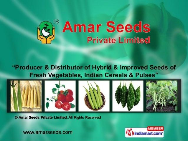 """Producer & Distributor of Hybrid & Improved Seeds of     Fresh Vegetables, Indian Cereals & Pulses"""