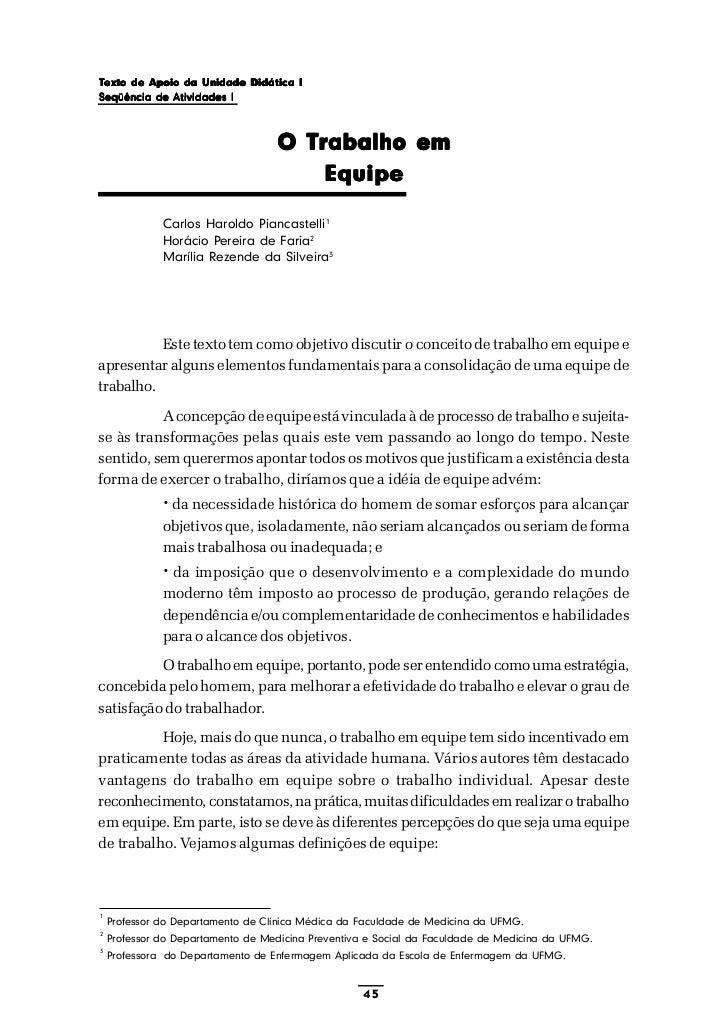 Texto de Apoio da Unidade Didática ISeqüência de Atividades I                                   O Trabalho em             ...